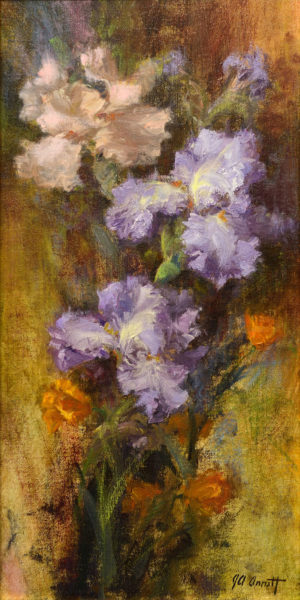 Peach & Violet Irises with Poppies