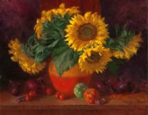 Sunflowers in Bean Pot