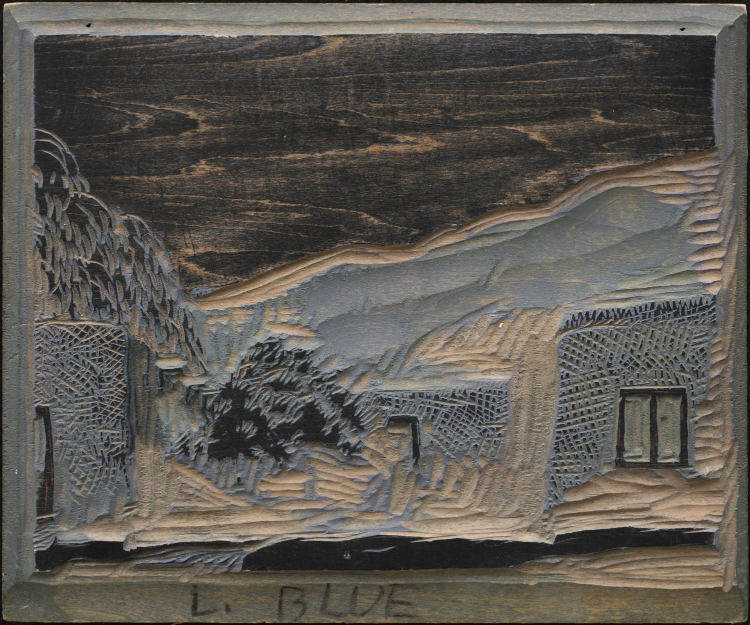 Woodblock for Taos Patio (light blue)