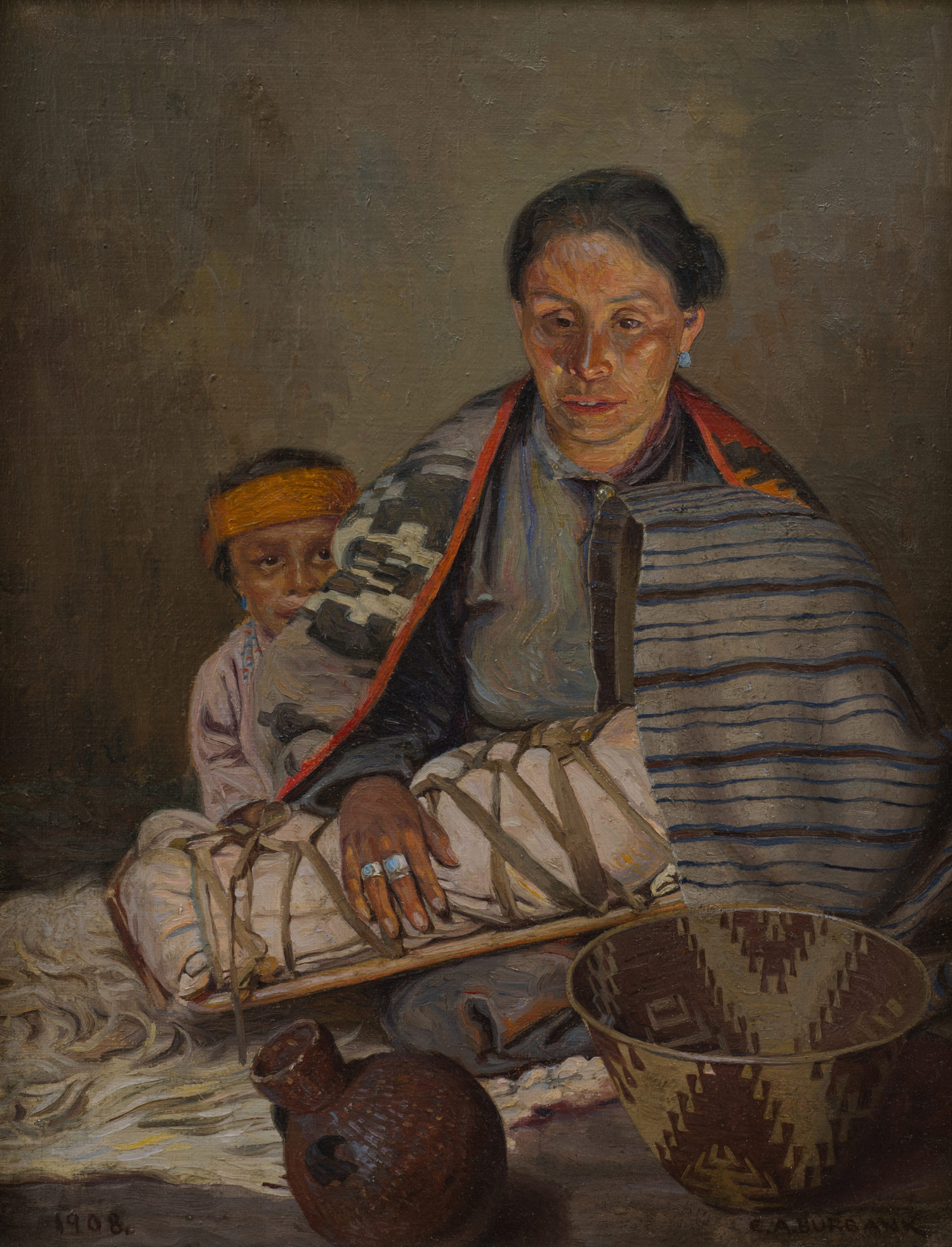 Native Mother and Children