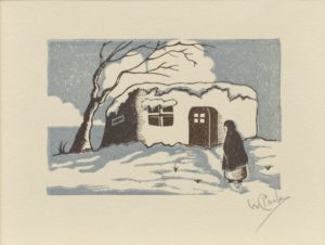 Woman & House in Snow