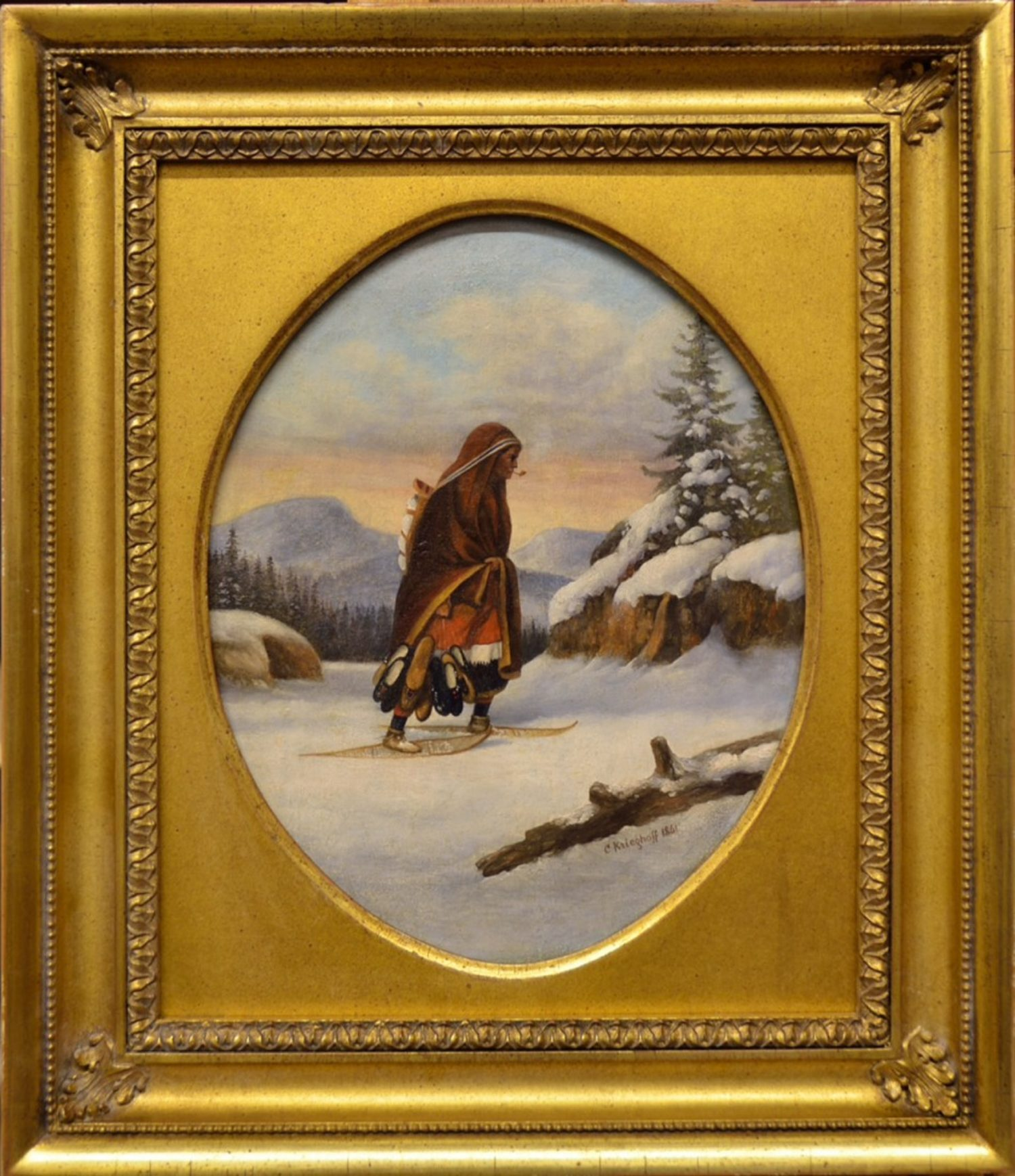 Native Woman Crossing the Snow with Trade Goods