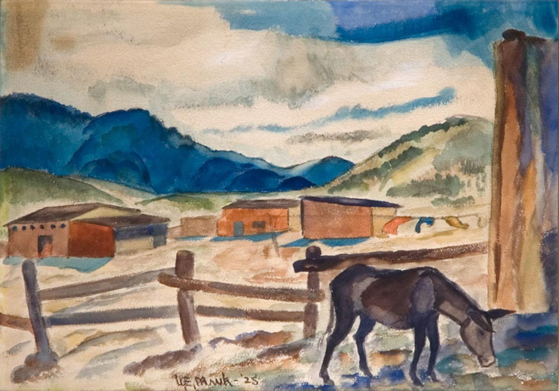 Burro in Santa Fe Landscape