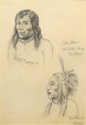 Portrait of Little Soldier, Yanctonais Chief and Unidentified Follower
