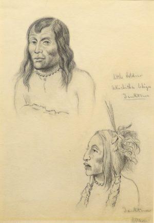 Portrait of Little Soldier, Yanctonais Chief and Unidentified Follower