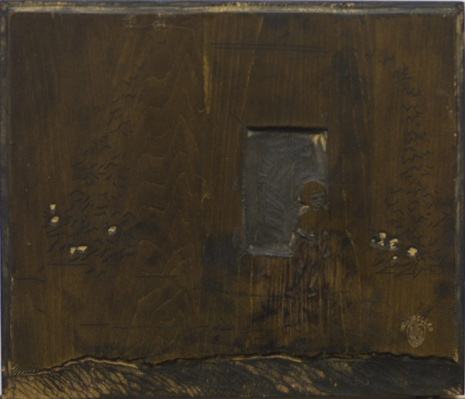 Woodblock for The Watch at the Gate (black)