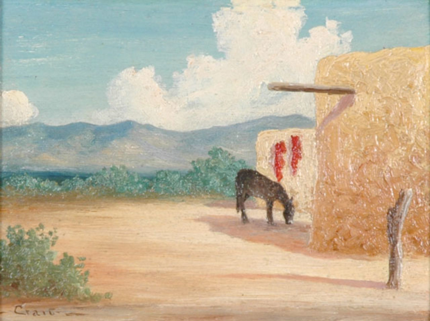 New Mexico Adobes with Burro