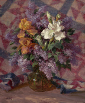 Irises with Lilacs and Quilt