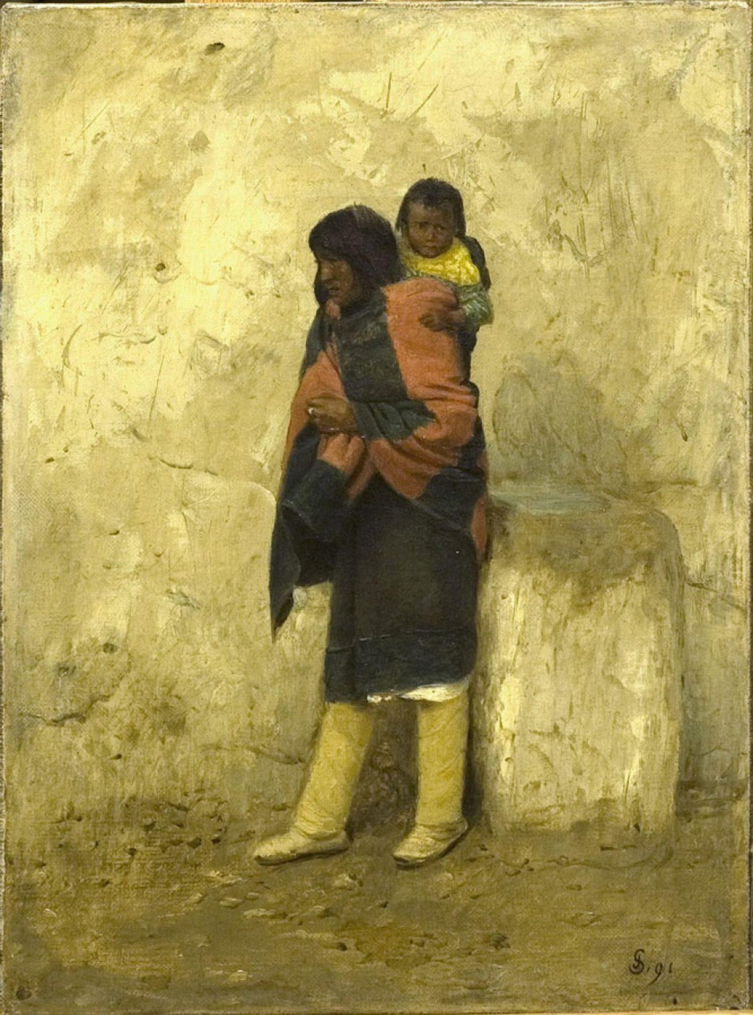 Typical Pueblo Indian and Child Pueblo of Isleta