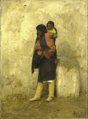 Typical Pueblo Indian and Child Pueblo of Isleta