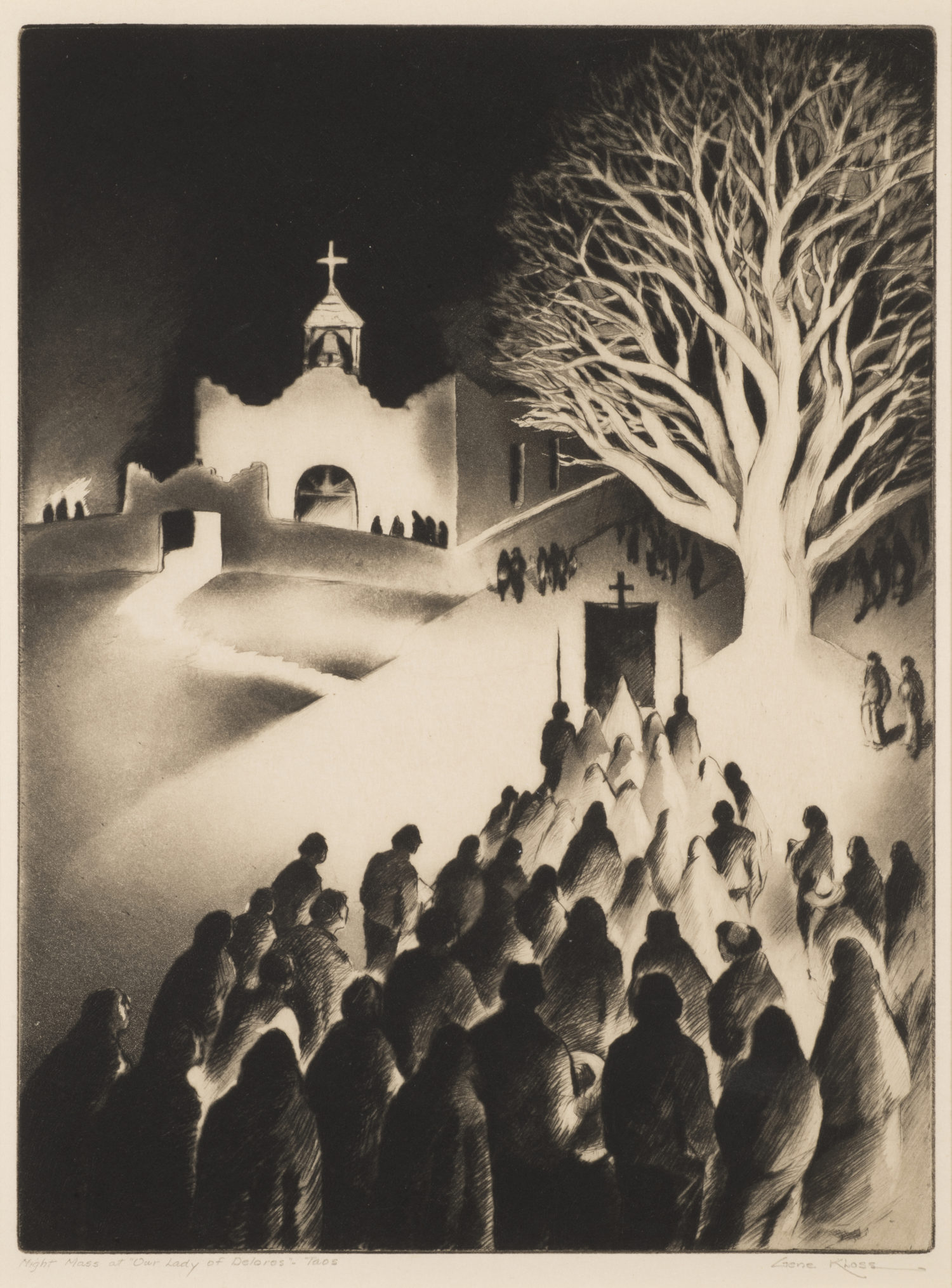 "Night Mass at ""Our Lady of Delores"" – Taos"