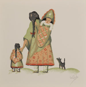 Woman with Papoose and Young Girl with Dog